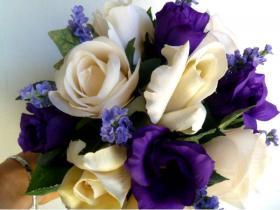 white and purple mix