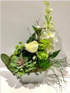 White Peonie with succulents