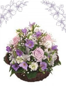 Mauve & White Basket Arrangement