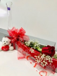 Elegant Box with Teddy Bear & Vase