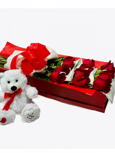 12 Red Roses in Box with Teddy Bear