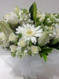 White Fragrant Posie Including Glass Vase