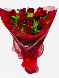 12 Long Red Roses in Dressed Vase