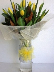 Tulips with Glass Vase
