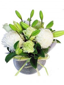 White Posy In Fishbowl Vase