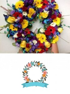 Colourful floral wreath