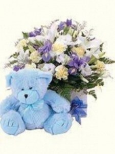 Blue Teddy Bear + Large Box Arrangement