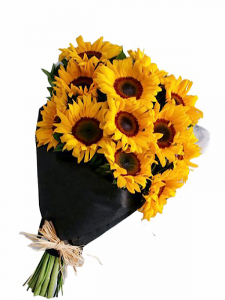 Sunflowers in black paper wrap