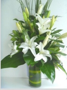 White Lily Bouquet Including Vase