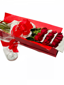 12 Red Roses in Box + Glass Vase