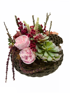 Dried Silk Brown Basket Arrangement