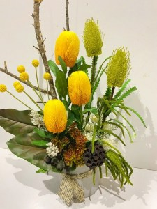 Bright Yellow Banksia Arrangement