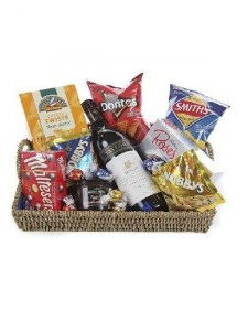 Goodies Basket with Red Wine