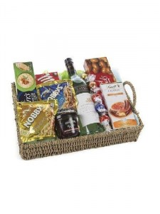 Goodies Basket with White Wine