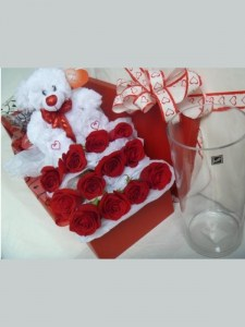12 Red Rose Box + Teddy Bear + Glass Vase